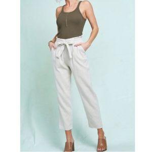 High rise linen blend straight leg pants
